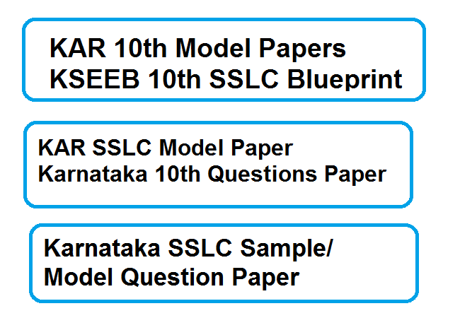 Karnataka SSLC Sample/ Model Question Paper
